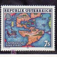 Sellos: AUSTRIA 1891 SIN CHARNELA, TEMA EUROPA 1992, MAPA, V CENTº DEL DESCUBRIMIENTO DE AMERICA,. Lote 207373650