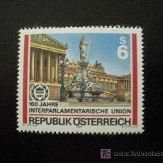 Sellos: AUSTRIA 1989 IVERT 1793 *** CENTENARIO DE LA UNIÓN INTERPARLAMENTARIA - PALACIO PARLAMENTO VIENA. Lote 12263554