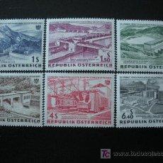Sellos: AUSTRIA 1962 IVERT 942/7 *** 15º ANIV. NACIONALIZACIÓN DE LA ELECTRICIDAD - PAISAJES. Lote 21215806