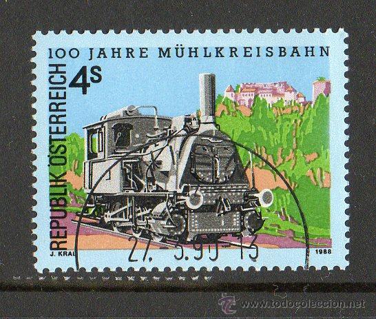 AUSTRIA AÑO 1988 YV 1745*º LOCOMOTORA DE VAPOR - FERROCARRILES - TRANSPORTES (Sellos - Extranjero - Europa - Austria)
