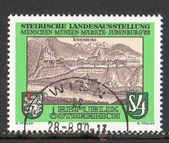 AUSTRIA AÑO 1989 YV 1783*º EXPOSICIÓN DE JUDENBURG'89 - CASTILLOS - TURISMO - ESCUDOS - HERÁLDICA (Sellos - Extranjero - Europa - Austria)