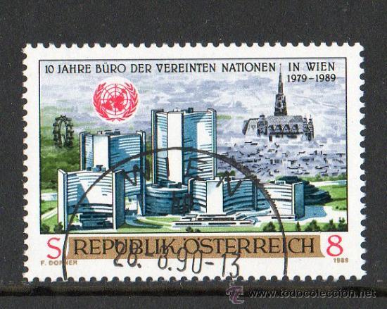 AUSTRIA AÑO 1989 YV 1795*º EDIFICIO DE LA ONU EN VIENA - ARQUITECTURA - BANDERAS - ESCUDOS (Sellos - Extranjero - Europa - Austria)