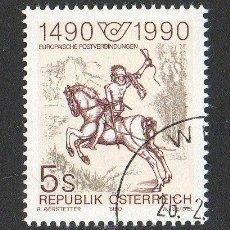 Sellos: AUSTRIA AÑO 1990 YV 1806*º 150 ANVº DEL PRIMER SELLO DE CORREOS - CABALLOS - FAUNA - FILATÉLIA. Lote 12975895