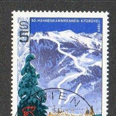 Sellos: AUSTRIA AÑO 1990 YV 1807*º 5O ANVº DE ESQUÍ EN HAHNENKAMM - DEPORTES - ÁRBOLES - NATURALEZA. Lote 12975899