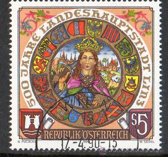 AUSTRIA AÑO 1990 YV *º 500 ANVº DE LINZ - ESCUDOS - HERÁLDICA (Sellos - Extranjero - Europa - Austria)