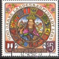 Sellos: AUSTRIA AÑO 1990 YV *º 500 ANVº DE LINZ - ESCUDOS - HERÁLDICA. Lote 12981727