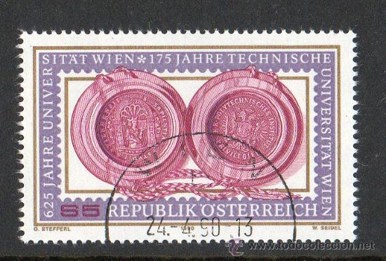 AUSTRIA AÑO 1990 YV 1813*º 625 ANVº UNIVERSIDAD VIENA 125 ANVº UNIV. TÉCNICA DE VIENA - EDUCACIÓN (Sellos - Extranjero - Europa - Austria)