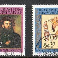 Sellos: AUSTRIA AÑO 1990 YV 1820/21*º 150 ANVº HANS MAKART Y CENTº NAC EGON SCHIELE - PERSONAJES - PINTURA. Lote 12982016