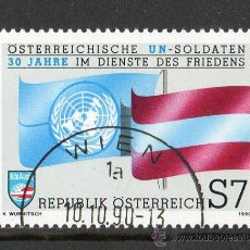 Sellos: AUSTRIA AÑO 1990 YV 1833*º 30 ANVº DE LAS FUERZAS DE PAZ DE LAS NACIONES UNIDAS - BANDERAS. Lote 12982394