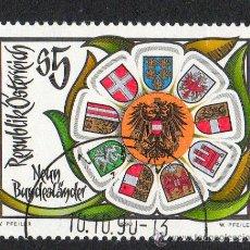 Sellos: AUSTRIA AÑO 1990 YV 1834 DEPARTAMENTOS FEDERALES Y REGIONALES AUSTRIÁCOS - ESCUDOS - HERÁLDICA. Lote 12982441
