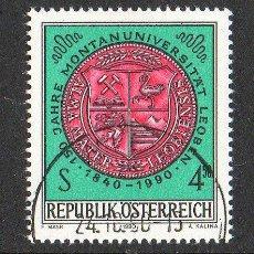 Sellos: AUSTRIA AÑO 1990 YV 1836*º 150 ANVº UNIVERSIDAD DE LEOBEN - ENSEÑANZA - ESCUDOS. Lote 12982474