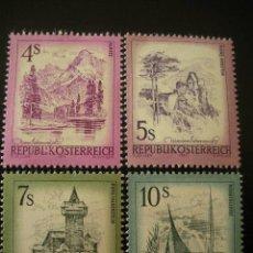 Sellos: AUSTRIA 1973 IVERT 1259/62 *** SERIE BÁSICA - PAISAJES. Lote 21215793
