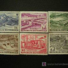 Sellos: AUSTRIA 1962 IVERT 942/7 *** 15º ANIV. NACIONALIZACIÓN DE LA ELECTRICIDAD - PAISAJES. Lote 18086275