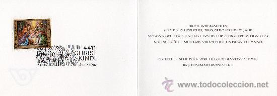 AUSTRIA AÑO 1992 TARJETA POSTAL DE NAVIDAD DEL SERVICIO FILATÉLICO CON MATASELLOS DÍA 24-12-1992 (Sellos - Extranjero - Europa - Austria)