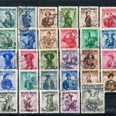 Sellos: AUSTRIA AÑO 1948-52 YV 738A/754Aºº + 801/07Aºº TRAJES REGIONALES - FOLKLORE . Lote 26692314