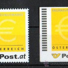 Sellos: AUSTRIA AÑO 2002 YV *** MI ERG 1 A + 2 A*** 2 VALORES SIN DENOMINACIÓN DE VALOR FACIAL - EUROS. Lote 26389798