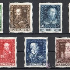 Sellos: AUSTRIA AÑO 1948 YV 732/38*** 80 ANVº CASA DE ARTISTAS EN VIENA - PERSONAJES - ARQUITECTURA. Lote 27371523
