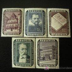 Sellos: AUSTRIA 1953 IVERT 822/6 *** RECONSTRUCCIÓN ESCUELA EVANGELICA DE VIENA - PERSONAJES Y MONUMENTOS. Lote 27446055