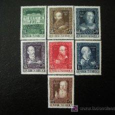Sellos: AUSTRIA 1948 IVERT 732/8 *** 80 ANIVERSARIO CASA DE ARTISTAS EN VIENA - PERSONAJES. Lote 27180333