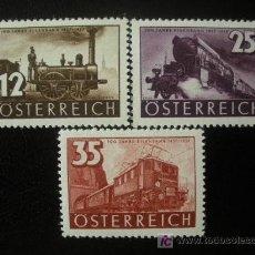 Sellos: AUSTRIA 1937 IVERT 503/5 *** CENTENARIO FERROCARRILES AUSTRIACOS - TRENES. Lote 27445997