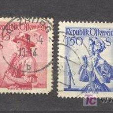 Sellos: AUSTRIA,1951-52, TRAJES REGIONALES, USADOS,YVERT TELLIER NºS:801, 802, 803, 804. Lote 17546067