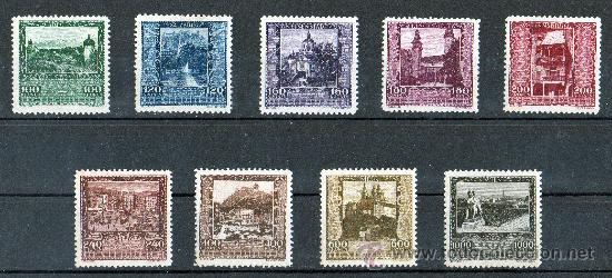 AUSTRIA AÑO 1923 YV 304/12* CIUDADES AUSTRIACAS - VISTAS Y PAISAJES - TURISMO - ARQUITECTURA (Sellos - Extranjero - Europa - Austria)