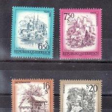 Sellos: AUSTRIA 1378/81 SIN CHARNELA, PAISAJES, VILLACH PERAU,FORTALEZA DE SALZBOURG, BAD TATZMANNSDORF, MYR. Lote 30039880