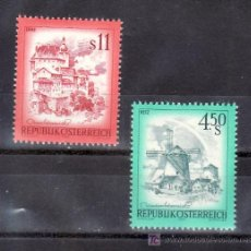 Sellos: AUSTRIA 1348/9 SIN CHARNELA, PAISAJES, CIUDAD DE RETZ Y MOLINO DE VIENTO, ENNS CIUDAD DEL SIGLO XII . Lote 21264356