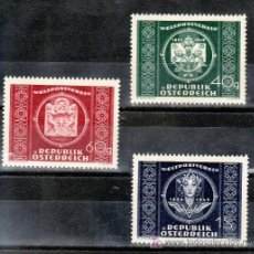 Sellos: AUSTRIA 779/81 CON CHARNELA, U.P.U., 75º ANIVERSARIO DE LA UNION POSTAL UNIVERSAL. Lote 21402275