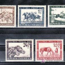 Sellos: AUSTRIA 648/52 SIN CHARNELA, DEPORTE, GRAN PREMIO HIPICA -AUSTRIA- EN VIENA . Lote 21415930