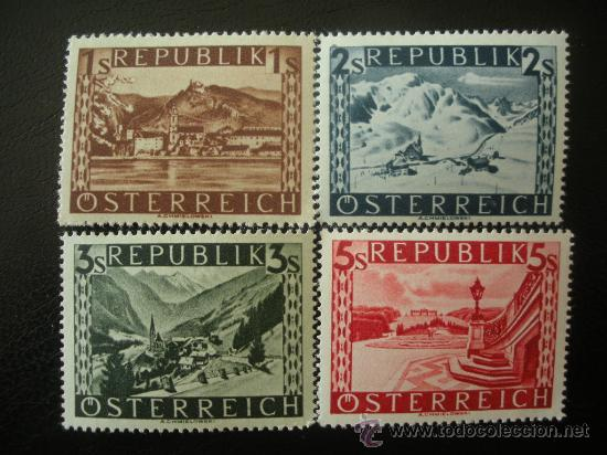 AUSTRIA 1945 IVERT 629A/32A *** SERIE BÁSICA - PAISAJES (FONDO LISO) (Sellos - Extranjero - Europa - Austria)