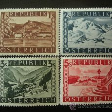 Sellos: AUSTRIA 1945 IVERT 629A/32A *** SERIE BÁSICA - PAISAJES (FONDO LISO). Lote 27445984
