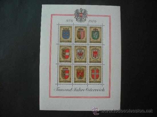 AUSTRIA 1976 HB IVERT 9 *** MILENARIO DE AUSTRIA - ESCUDOS (Sellos - Extranjero - Europa - Austria)