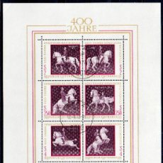 Sellos: AUSTRIA AÑO 1972 YV HB 7*º IV CENTº ESCUELA ESPAÑOLA DE EQUITACIÓN EN VIENA - CABALLOS - FAUNA. Lote 27292175