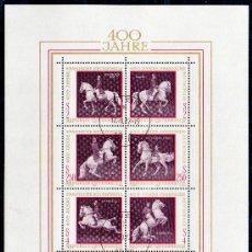 Sellos: AUSTRIA AÑO 1972 YV HB 7*º IV CENTº ESCUELA ESPAÑOLA DE EQUITACIÓN EN VIENA - CABALLOS - FAUNA. Lote 27292301