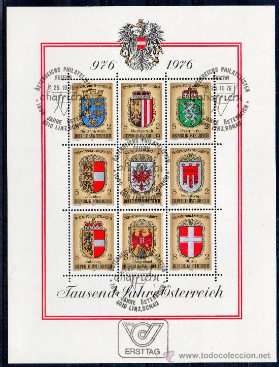 AUSTRIA AÑO 1976 YV HB 9*º MILENARIO DE LA CREACIÓN DE AUSTRIA - HERÁLDICA - ESCUDOS (Sellos - Extranjero - Europa - Austria)