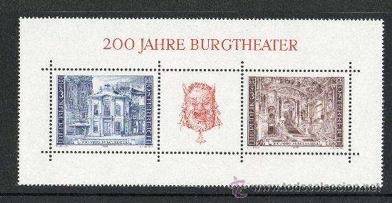 AUSTRIA AÑO 1976 YV HB 8*** BICENTENARIO DEL TEATRO BURGTHEATER DE VIENA - ARQUITECTURA (Sellos - Extranjero - Europa - Austria)