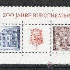Sellos: AUSTRIA AÑO 1976 YV HB 8*** BICENTENARIO DEL TEATRO BURGTHEATER DE VIENA - ARQUITECTURA. Lote 27296287