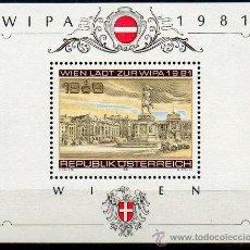 Sellos: AUSTRIA AÑO 1981 YV HB 10*** EXPOSICIÓN FILATÉLICA INTERNACIONAL EN VIENA WIPA'81 - ARQUITECTURA. Lote 27296681