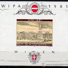 Sellos: AUSTRIA AÑO 1981 YV HB 10*** S/D EXPO FILATÉLICA INTERNACIONAL EN VIENA WIPA'81 - ARQUITECTURA. Lote 27296871