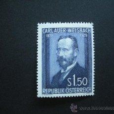 Sellos: .AUSTRIA 1954 IVERT 840 * 25 ANIVERSARIO MUERTE PINTOR CARL AUER VON WELSBACH - PERSONAJES. Lote 29745421