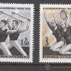 Sellos: AUSTRIA 1965 - 4º CAMPEONATO GIMNASIA DE VIENA - YVERT 1026 / 27 ***. Lote 31023226