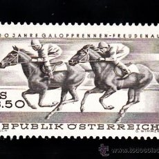 Sellos: AUSTRIA 1095** - AÑO 1968 - CENTENARIO DE LAS CARRERAS HIPICAS DE FREUDENAV - CABALLOS. Lote 38718572