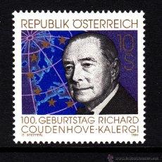 Sellos: AUSTRIA 1972** - AÑO 1994 - CENTENARIO DEL NACIMIENTO DE RICHARD COUDENHOVE - KALERGI. Lote 143012496