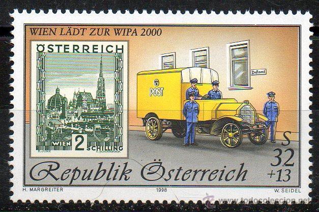 AUSTRIA AÑO 1998 YV 2099*** EXPOSICIÓN INTERNACIONAL DE FILATELIA WIPA 2000 - SELLO SOBRE SELLO (Sellos - Extranjero - Europa - Austria)