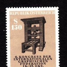 Sellos: AUSTRIA 1012** - AÑO 1964 - 6º CONGRESO DE LA FEDERACIÓN GRÁFICA INTERNACIONAL. Lote 211441629