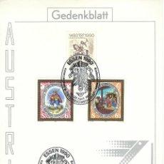 Sellos: AUSTRIA DOCUMENTO ESSEN 19-22 APRIL 1990. Lote 52021440