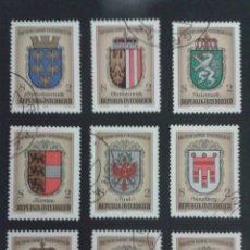 Sellos: SELLOS DE AUSTRIA. ESCUDOS. HERÁLDICA. YVERT 1351/9. SERIE COMPLETA USADA.. Lote 53024171