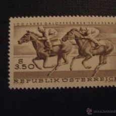 Sellos: AUSTRIA Nº YVERT 1095*** AÑO 1968. CENTENARIO CARRERAS HIPICAS DE FREUDENAU . Lote 53607225