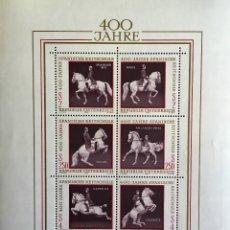 Sellos: HOJA BLOQUE AUSTRIA 1972** ESCUELA CABALLOS ESPAÑOLES, NUEVO SIN FIJASELLOS. Lote 142465169